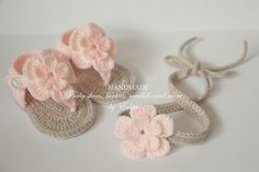 Crochet baby sandals and headband set, gladiator, booties, shoes, light tan, pink, peach, gift, flower, READY TO SHIP, size 6-9 months