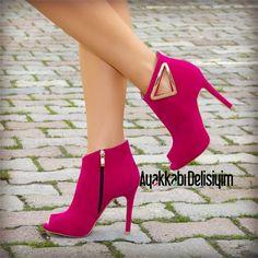 Olinda Süet Fuşya Yazlık Bootie #pink #heels