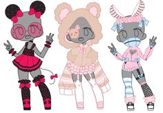 Outfit Adopt Set [Open] by yuki-white Chibi Girl Drawings, Cute Kawaii Drawings, Anime Drawings Sketches, Cute Art Styles, Cartoon Art Styles, Character Outfits, Character Art, Chibi Kawaii, Mode Kawaii