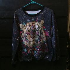 Graphic tiger galaxy sweatshirt Cool Galaxy sweatshirt with a tiger graphic, too big for me and only worn once Tops Sweatshirts & Hoodies