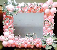 Pretty in pink balloon frame Balloon Frame, Balloon Display, Balloon Columns, Balloon Arch, Photo Balloons, Pink Balloons, Wedding Balloons, Baby Shower Balloons, Balloon Pictures
