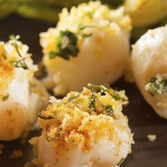 These baked scallops are breaded and seasoned with garlic and parmesan cheese.. Baked Scallops Recipe from Grandmothers Kitchen.