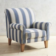 Pier One  Lyndee Chair. The rolled arms and back, soft blue and white stripe is a classic, and handcrafted. $499
