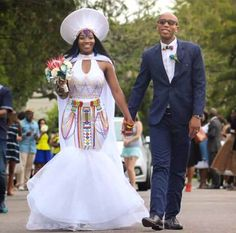 Bride In Modern Zulu Traditional Wedding Dress With Cape, Isicholo Hat & Beads | Clipkulture | Clipkulture