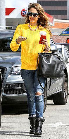 Perpetually stylish Jessica Alba in daffodil yellow
