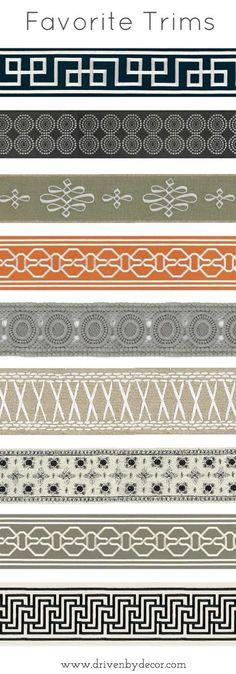 Favorite trims - perfect for the edges of drapes, pillows, and chair or sofa skirts!
