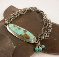 Turquoise Bracelet Cabochon Stone and Sterling Silver Chain