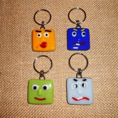 Your Choice  Fused Glass Funny Face Keychain by Kelly Lacy at SunshineArtGlass