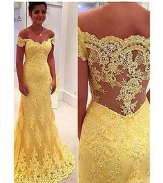 Yellow Prom Dress, Off-the-Shoulder Dresses,Lace Long Evening Dress, Mermaid Prom Dresses,Modern Formal Dress