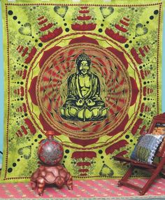 Buddha Tapestry Wall Hangings elephant circle indian tapestry mandala wall hanging for dorms