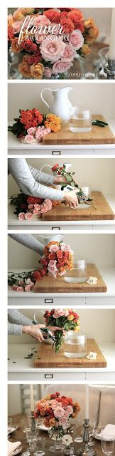 Tips for arranging flowers like a pro - easy and only $15!    #ValentinesDay   http://jennysteffens.blogspot.com/2013/02/diy-sweetheart-rose-arrangement-coral.html