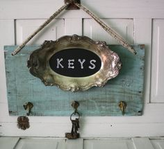 Rustic Cottage Chic Key Rack- French Farmhouse- Key Hanger- Repurposed- Silver Tray