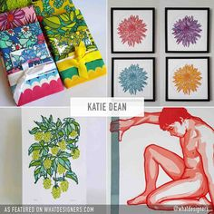 Excited to feature the work of the talented Washington-based printmaker, Katie Dean. Inspired by nature and bold colors, Katie Dean's work is the perfect blend of Art Nouveau meets Modern. And I'm not sure exactly what it is about Katie's work, but it feels soulful and honest. Maybe because there seems to be a genuine love for the outdoors and in bringing it into the home for us all to enjoy – whether as a gift to others or ourselves. Linocut Prints, Art Prints, Genuine Love, Bold Colors, Printmaking, Dean, Art Nouveau, Washington, Illustration Art