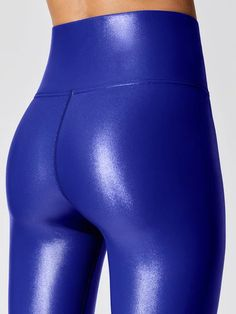 High Waisted Takara Leggings in Bright Blue High Waisted Takara Leggings in Bright Blue Skin Tight Leggings, Tight Leather Pants, Lycra Leggings, Shiny Leggings, Leather Trousers, Tights, Legging Sport, Sports Leggings, Mode Des Leggings