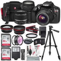 Canon EOS Rebel DSLR Camera with EF-S IS II Lens, Along with 32 and SDHC, and Deluxe Accessory Bundle with Xpix cleaning Accessories ** You can find more details by visiting the image link. (This is an affiliate link) Dslr Nikon, Dslr Cameras, Nikon D5200, Leica Camera, Film Camera, Camara Canon Eos, Canon Eos Rebel T6i, Dslr Photography Tips, Photography Equipment