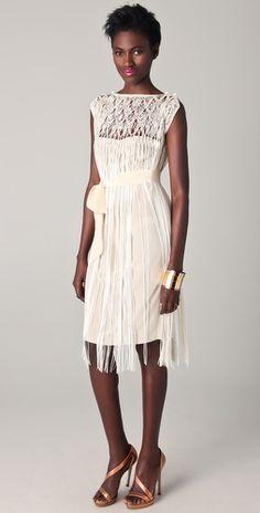 """Tribune Standard-Top Dress: macramé, silk crepe & rayon; handcrafted in an artisan women's co-op in Bolivia. Removable self-belt. Sleeveless. Semi-sheer."