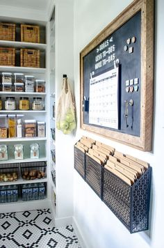 Walk-In Pantry Reveal Walk in pantry organization idea using a magnetic board and command center. Loving all of the organization, pantry shelving, countertops, window garden. Narrow walk in pantry design with countertop and shelving Kitchen Pantry Design, Diy Kitchen, Kitchen Storage, Kitchen Decor, Kitchen Pantries, Kitchen Ideas, Awesome Kitchen, Kitchen Cabinets, Bathroom Storage