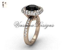 Unique 14kt rose gold diamond engagement ring, Black Diamond VD10015 - Wedding and engagement rings (*Amazon Partner-Link)