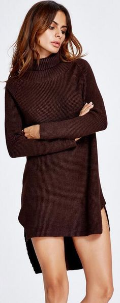 High Neck Dip Hem Slit Loose Short Knit Long Sweater – ebuytide Long Sweater Dress, Jumper Dress, Perfect Curves, Loose Shorts, Knit Jacket, Sweater Design, Long Sweaters, Asymmetrical Dress, Cardigans For Women