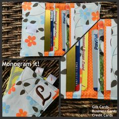 Monogrammed Gift Card Credit Card Business Card by CraftyStitches