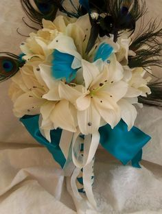 Lilies and feather bouquet