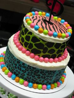 "Colorful animal print cake for a ""Wild and Bling"" bachelorette party!"