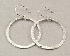 nice Large silver hoop earrings hammered silver hoops, handmade silver jewelry by Bel...