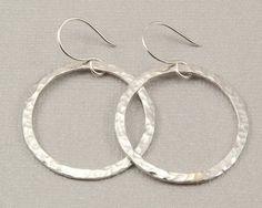 nice Large silver hoop earrings hammered silver hoops, handmade silver jewelry by Bel...