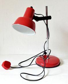 Vintage 1980s red desk lamp by GoodsGarb on Etsy