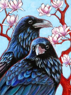 "Daily Paintworks - ""Ravens and Magnolias"" - Original Fine Art for Sale - © Ande Hall Crow Painting, American Crow, Raven Bird, Crows Ravens, Bird Art, Crow Art, Fine Art Gallery, Painting Inspiration, Pet Birds"