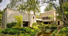 Wright is most famous for a philosophy he coined, 'organic architecture,' aptly represented in the Millard House by his use of concrete blocks as the primary building material