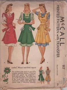 Vintage Fashion Library - Vintage WWII Era Ruffled Pinafore Frilly Apron Sewing Pattern w/ Floral Transfer McCall 917 Vintage Apron Pattern, Aprons Vintage, Vintage Sewing Patterns, Vintage Jumper, Dirndl Skirt, Pinafore Apron, Vintage Outfits, Vintage Fashion, Vintage Style