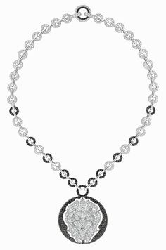 Chanel white gold Lion Talisman necklace, set with 801 brilliant-cut diamonds and 378 brilliant-cut black diamonds, from the new Les Talismans high jewellery collection.