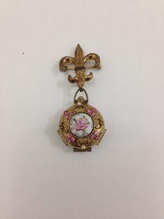 Coro four way locket pendant 1940's Gold by TheTravelingTortoise