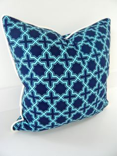 Handmade navy & turquoise cushion pillow. $47.00, via Etsy.