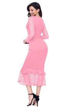 Pink Hollow-out Long Sleeve Lace Ruffle Midi Dress Elegant Prom Dresses, Dresses To Wear To A Wedding, Stylish Dresses, Formal Dresses, Midi Dresses Online, Dresses For Sale, Dress Outfits, Peplum Dresses, Bodycon Dress