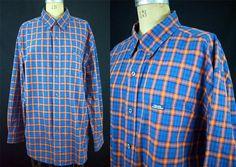 RALPH LAUREN Chaps Plaid 100% Cotton Shirt L/S Blue Orange Gators L EUC #Ralph Lauren Chaps