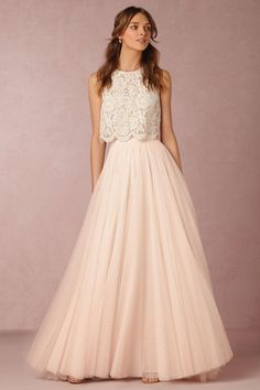 ▷ ideas for bohemian style outfit with ballet tutu for women - boho dress long floor-length skirt or dress lace elements very fine and beautiful feminine style di - Bridesmaid Separates, Bridal Separates, Bridesmaid Dresses, Prom Dresses, Formal Dresses, Wedding Dresses, 2 Piece Bridesmaid Dress, 2 Piece Wedding Dress, Wedding Dress Separates