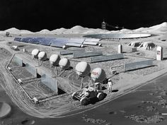 1980's Moon Base plan: Lunar oxygen plant and crater-embedded radio telescope (background). Image: NASA.