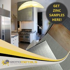 Get your free samples for zinc at Rotometals.com Zinc Sheet, Kitchen Redo, Free Samples, Choices, Trail, House Ideas, Kitchen Makeovers, Kitchen Remodeling, Updated Kitchen
