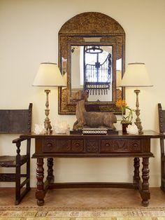 Spanish-style hacienda in Carmel Valley showcases inviting design Decor, Table Style, Foyer Decorating, House Styles, Mediterranean Home Decor, Entryway Decor, Spanish Interior, Spanish Style Furniture, Home Decor