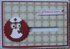 Get well soon spinner card - the nurse owl spins round (make with the brilliant owl builder punch from Stampin Up)