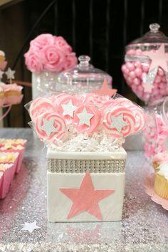 twinkle twinkle little star babyshower candybuffet pink silver