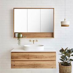 Loughlin Furniture Avoca Single ijdelheden online bij The Blue Space Wall Hung Vanity, Timber Vanity, Mirror Cabinets, Bathroom Styling, Bathroom Interior, Small Bathroom, Modern Bathroom, Bathroom Renovations, Bathroom Decor
