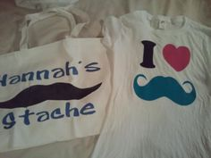 Hannah's Bday gifts - Mustache shirt and bag