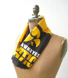 Iowa Hawkeyes T Shirt Infinity Scarf / Eternity Scarf / by ohzie
