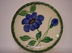 Blue Ridge Southern Potteries 4115 Blue Yellow Flower Green 7 Dessert Plates | eBay