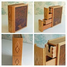 No. 5 in a series of keepsakes boxes. This one has a walnut burr cover wrapped in Oak with a maple inlay. The spine is made of oak with the diamond motif made of Walnut and maple inlay. Keepsake Boxes, Keepsakes, Magazine Rack, Recycling, Souvenirs