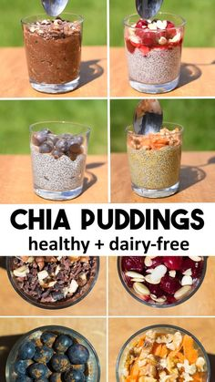 Chia Puddings 4 Ways - dairy-free with vegan milk and recipes for chocolate nutella carrot cake blueberry muffin cherry almond vegan healthy veganrecipe chiaseed breakfast Healthy Breakfast Recipes, Raw Food Recipes, Healthy Drinks, Gourmet Recipes, Healthy Snacks, Healthy Recipes, Milk Recipes, Pudding Recipes, Chi Seed Recipes
