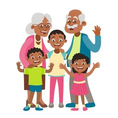 Grandparents, grandson and two grandchildren portrait. Grandparents, Grandchildren, Barbie, Clip Art, Kawaii, Portrait, Happy, Cute, Instagram